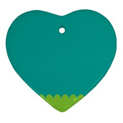 Green Blue Teal Scallop Wallpaper Wave Heart Ornament (two Sides)