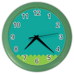 Green Blue Teal Scallop Wallpaper Wave Color Wall Clocks by Alisyart