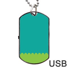 Green Blue Teal Scallop Wallpaper Wave Dog Tag Usb Flash (two Sides) by Alisyart
