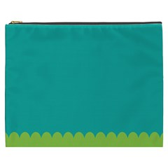 Green Blue Teal Scallop Wallpaper Wave Cosmetic Bag (xxxl)