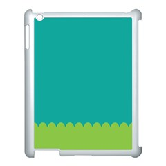 Green Blue Teal Scallop Wallpaper Wave Apple Ipad 3/4 Case (white)
