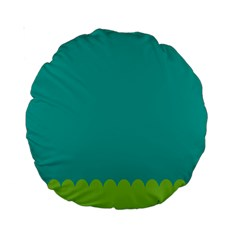 Green Blue Teal Scallop Wallpaper Wave Standard 15  Premium Round Cushions