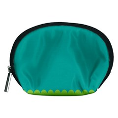 Green Blue Teal Scallop Wallpaper Wave Accessory Pouches (medium)