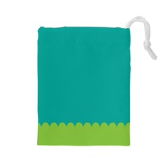 Green Blue Teal Scallop Wallpaper Wave Drawstring Pouches (large)  by Alisyart