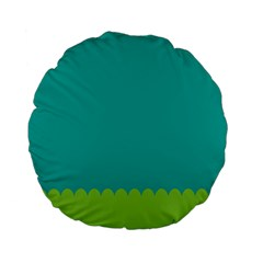 Green Blue Teal Scallop Wallpaper Wave Standard 15  Premium Flano Round Cushions