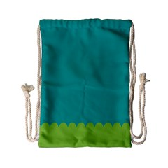 Green Blue Teal Scallop Wallpaper Wave Drawstring Bag (small)