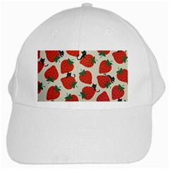 Fruit Strawberry Red Black Cat White Cap by Alisyart