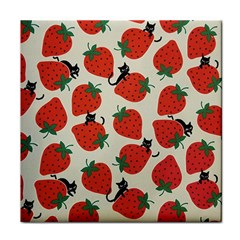 Fruit Strawberry Red Black Cat Tile Coasters by Alisyart