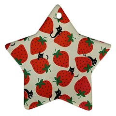 Fruit Strawberry Red Black Cat Ornament (star) by Alisyart