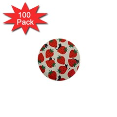 Fruit Strawberry Red Black Cat 1  Mini Buttons (100 Pack)