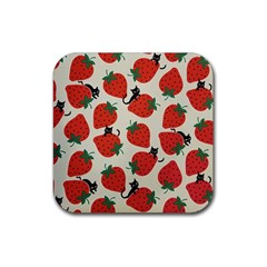 Fruit Strawberry Red Black Cat Rubber Coaster (square)  by Alisyart