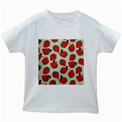 Fruit Strawberry Red Black Cat Kids White T Shirts