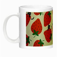 Fruit Strawberry Red Black Cat Night Luminous Mugs