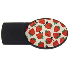 Fruit Strawberry Red Black Cat Usb Flash Drive Oval (4 Gb) by Alisyart