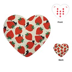 Fruit Strawberry Red Black Cat Playing Cards (heart)