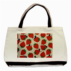 Fruit Strawberry Red Black Cat Basic Tote Bag