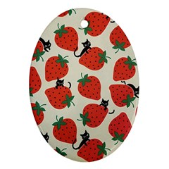 Fruit Strawberry Red Black Cat Oval Ornament (two Sides) by Alisyart