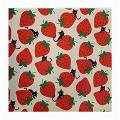 Fruit Strawberry Red Black Cat Medium Glasses Cloth (2 Side) by Alisyart