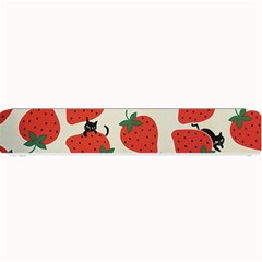 Fruit Strawberry Red Black Cat Small Bar Mats by Alisyart