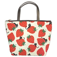 Fruit Strawberry Red Black Cat Bucket Bags by Alisyart