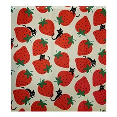 Fruit Strawberry Red Black Cat Shower Curtain 66  X 72  (large)  by Alisyart