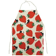 Fruit Strawberry Red Black Cat Full Print Aprons by Alisyart