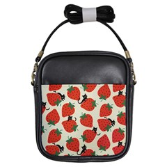 Fruit Strawberry Red Black Cat Girls Sling Bags by Alisyart