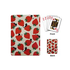 Fruit Strawberry Red Black Cat Playing Cards (mini)  by Alisyart