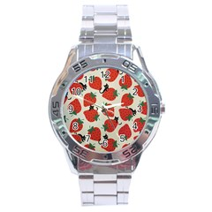 Fruit Strawberry Red Black Cat Stainless Steel Analogue Watch