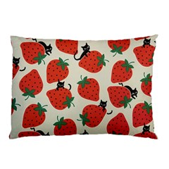 Fruit Strawberry Red Black Cat Pillow Case (two Sides) by Alisyart