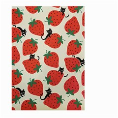 Fruit Strawberry Red Black Cat Large Garden Flag (two Sides) by Alisyart