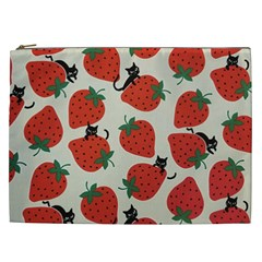 Fruit Strawberry Red Black Cat Cosmetic Bag (xxl)