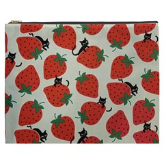 Fruit Strawberry Red Black Cat Cosmetic Bag (xxxl)