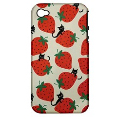 Fruit Strawberry Red Black Cat Apple Iphone 4/4s Hardshell Case (pc+silicone) by Alisyart