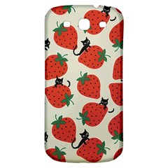 Fruit Strawberry Red Black Cat Samsung Galaxy S3 S Iii Classic Hardshell Back Case by Alisyart