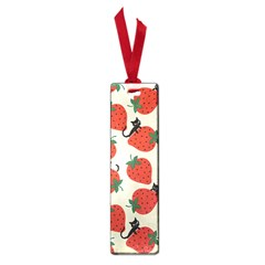 Fruit Strawberry Red Black Cat Small Book Marks