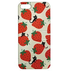 Fruit Strawberry Red Black Cat Apple Iphone 5 Hardshell Case With Stand
