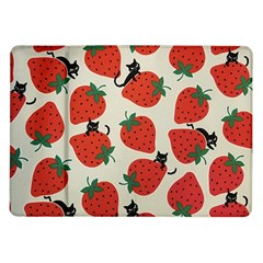 Fruit Strawberry Red Black Cat Samsung Galaxy Tab 10 1  P7500 Flip Case