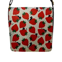 Fruit Strawberry Red Black Cat Flap Messenger Bag (l)  by Alisyart