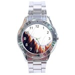 Abstract Lines Stainless Steel Analogue Watch Front