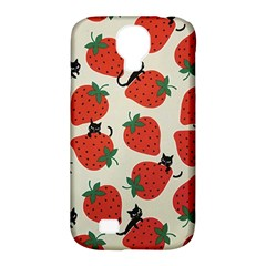 Fruit Strawberry Red Black Cat Samsung Galaxy S4 Classic Hardshell Case (pc+silicone) by Alisyart