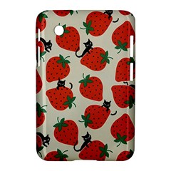 Fruit Strawberry Red Black Cat Samsung Galaxy Tab 2 (7 ) P3100 Hardshell Case  by Alisyart