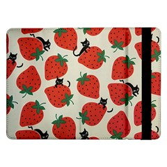 Fruit Strawberry Red Black Cat Samsung Galaxy Tab Pro 12 2  Flip Case by Alisyart