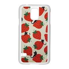 Fruit Strawberry Red Black Cat Samsung Galaxy S5 Case (white)