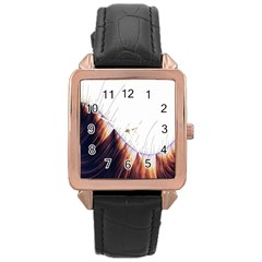 Abstract Lines Rose Gold Leather Watch