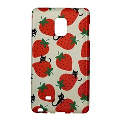 Fruit Strawberry Red Black Cat Galaxy Note Edge by Alisyart