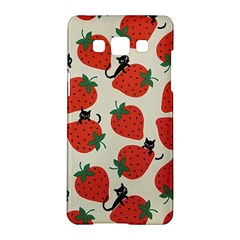 Fruit Strawberry Red Black Cat Samsung Galaxy A5 Hardshell Case  by Alisyart
