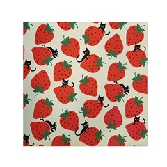 Fruit Strawberry Red Black Cat Small Satin Scarf (square)