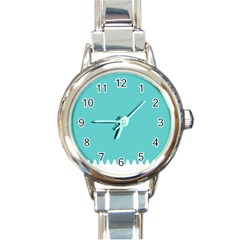 Grey Wave Water Waves Blue White Round Italian Charm Watch by Alisyart