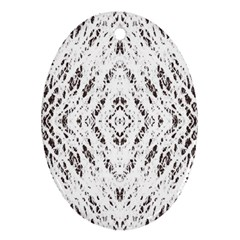 Pattern Monochrome Terrazzo Oval Ornament (two Sides) by Simbadda